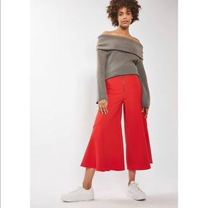 Topshop Red Wide Leg Crop Pant with Flared Leg
